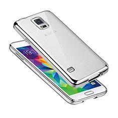 Funda Silicona Ultrafina Carcasa Transparente H01 para Samsung Galaxy S5 Duos Plus Plata