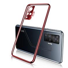 Funda Silicona Ultrafina Carcasa Transparente H01 para Vivo X50 Pro 5G Rojo