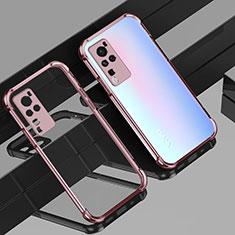Funda Silicona Ultrafina Carcasa Transparente H01 para Vivo X60 Pro 5G Oro Rosa