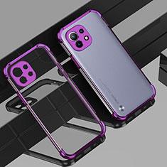 Funda Silicona Ultrafina Carcasa Transparente H01 para Xiaomi Mi 11 5G Morado
