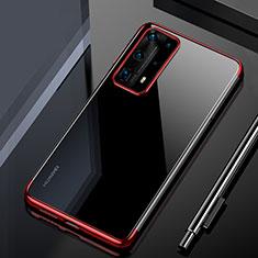 Funda Silicona Ultrafina Carcasa Transparente H02 para Huawei P40 Pro+ Plus Rojo