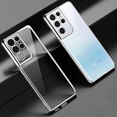Funda Silicona Ultrafina Carcasa Transparente H02 para Samsung Galaxy S21 Ultra 5G Plata
