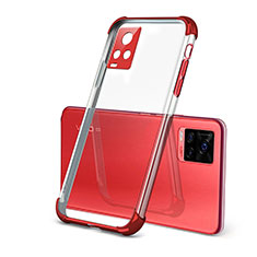 Funda Silicona Ultrafina Carcasa Transparente H03 para Vivo V20 Pro 5G Rojo