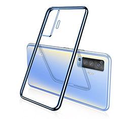 Funda Silicona Ultrafina Carcasa Transparente H04 para Vivo X50 5G Azul