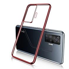 Funda Silicona Ultrafina Carcasa Transparente H04 para Vivo X50 Pro 5G Rojo