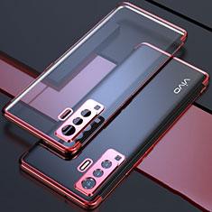 Funda Silicona Ultrafina Carcasa Transparente H05 para Vivo X50 5G Rojo