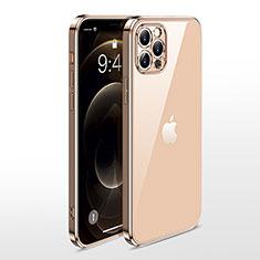 Funda Silicona Ultrafina Carcasa Transparente N01 para Apple iPhone 12 Pro Max Oro