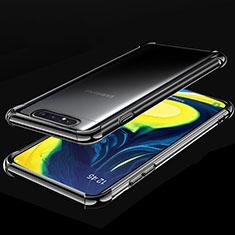 Funda Silicona Ultrafina Carcasa Transparente S01 para Samsung Galaxy A80 Negro
