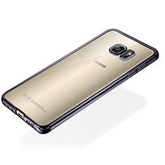 Funda Silicona Ultrafina Carcasa Transparente S01 para Samsung Galaxy S6 Edge+ Plus SM-G928F Negro