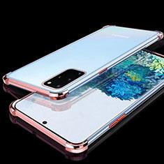 Funda Silicona Ultrafina Carcasa Transparente S02 para Samsung Galaxy S20 Plus 5G Oro Rosa