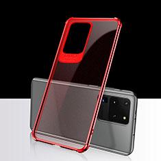 Funda Silicona Ultrafina Carcasa Transparente S02 para Samsung Galaxy S20 Ultra 5G Rojo