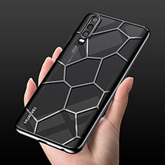 Funda Silicona Ultrafina Carcasa Transparente S04 para Huawei P30 Negro
