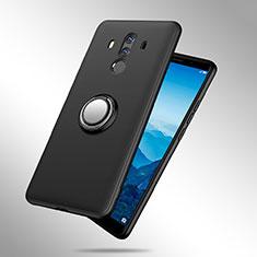Funda Silicona Ultrafina Goma con Anillo de dedo Soporte A02 para Huawei Mate 10 Pro Negro