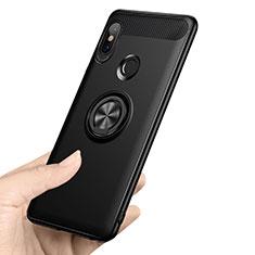 Funda Silicona Ultrafina Goma con Anillo de dedo Soporte A02 para Xiaomi Redmi Note 5 Pro Negro