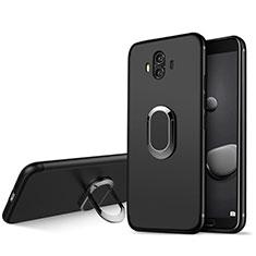 Funda Silicona Ultrafina Goma con Anillo de dedo Soporte A04 para Huawei Mate 10 Negro