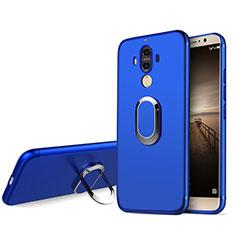 Funda Silicona Ultrafina Goma con Anillo de dedo Soporte A04 para Huawei Mate 9 Azul