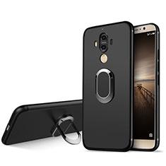 Funda Silicona Ultrafina Goma con Anillo de dedo Soporte A04 para Huawei Mate 9 Negro