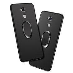 Funda Silicona Ultrafina Goma con Anillo de dedo Soporte para Huawei Honor 5X Negro