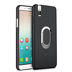 Funda Silicona Ultrafina Goma con Anillo de dedo Soporte para Huawei Honor 7i shot X Negro