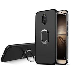 Funda Silicona Ultrafina Goma con Anillo de dedo Soporte para Huawei Mate 9 Pro Negro