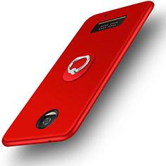 Funda Silicona Ultrafina Goma con Anillo de dedo Soporte para Motorola Moto Z Play Rojo