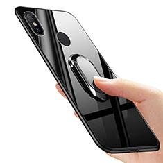 Funda Silicona Ultrafina Goma con Anillo de dedo Soporte para Xiaomi Mi Mix 2S Negro