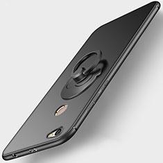 Funda Silicona Ultrafina Goma con Anillo de dedo Soporte para Xiaomi Redmi Note 5A Pro Negro