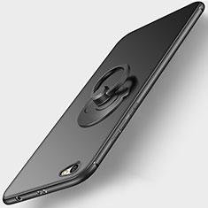 Funda Silicona Ultrafina Goma con Anillo de dedo Soporte para Xiaomi Redmi Note 5A Standard Edition Negro