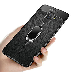 Funda Silicona Ultrafina Goma con Magnetico Anillo de dedo Soporte A02 para Samsung Galaxy A9 Star Lite Negro