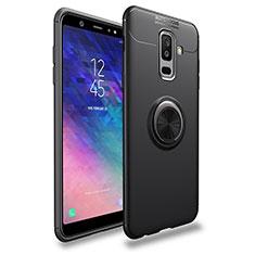Funda Silicona Ultrafina Goma con Magnetico Anillo de dedo Soporte A03 para Samsung Galaxy A6 Plus Negro
