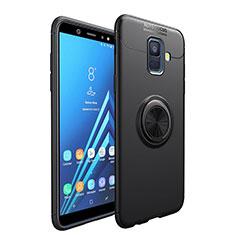 Funda Silicona Ultrafina Goma con Magnetico Anillo de dedo Soporte para Samsung Galaxy A6 (2018) Dual SIM Negro
