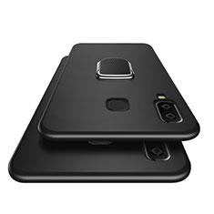Funda Silicona Ultrafina Goma con Magnetico Anillo de dedo Soporte para Samsung Galaxy A8 Star Negro