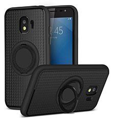 Funda Silicona Ultrafina Goma con Magnetico Anillo de dedo Soporte para Samsung Galaxy Grand Prime Pro (2018) Negro