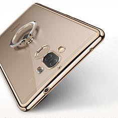 Funda Silicona Ultrafina Transparente con Anillo de dedo Soporte para Huawei Mate 9 Oro