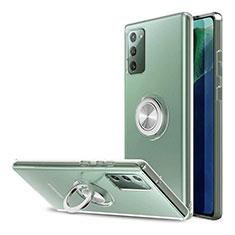 Funda Silicona Ultrafina Transparente con Anillo de dedo Soporte para Samsung Galaxy Note 20 5G Claro
