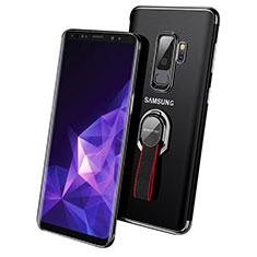 Funda Silicona Ultrafina Transparente con Anillo de dedo Soporte para Samsung Galaxy S9 Plus Negro