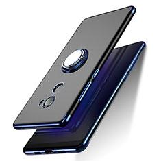 Funda Silicona Ultrafina Transparente con Anillo de dedo Soporte para Xiaomi Mi Mix 2 Azul