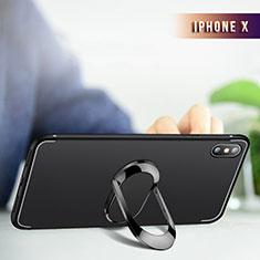 Funda Silicona Ultrafina Transparente con Anillo de dedo Soporte R01 para Apple iPhone Xs Max Negro
