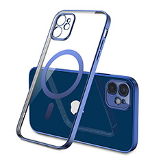 Funda Silicona Ultrafina Transparente con Mag-Safe Magnetic M01 para Apple iPhone 12 Mini Azul