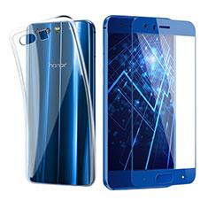 Funda Silicona Ultrafina Transparente con Protector de Pantalla para Huawei Honor 9 Premium Azul