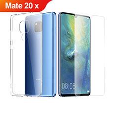 Funda Silicona Ultrafina Transparente con Protector de Pantalla para Huawei Mate 20 X Claro