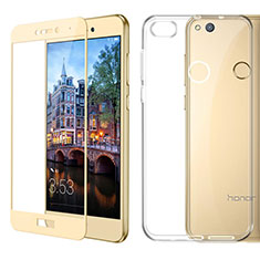 Funda Silicona Ultrafina Transparente con Protector de Pantalla para Huawei P8 Lite (2017) Oro