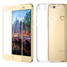 Funda Silicona Ultrafina Transparente con Protector de Pantalla para Huawei P9 Lite (2017) Oro