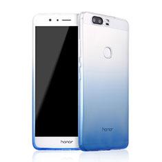 Funda Silicona Ultrafina Transparente Gradiente para Huawei Honor V8 Azul