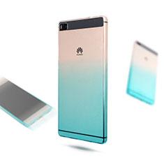 Funda Silicona Ultrafina Transparente Gradiente para Huawei P8 Azul