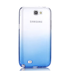 Funda Silicona Ultrafina Transparente Gradiente para Samsung Galaxy Note 2 N7100 N7105 Azul