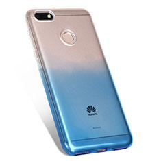 Funda Silicona Ultrafina Transparente Gradiente Q01 para Huawei Enjoy 7 Azul