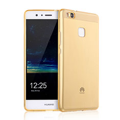 Funda Silicona Ultrafina Transparente para Huawei P9 Lite Oro