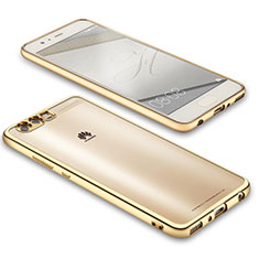 Funda Silicona Ultrafina Transparente U02 para Huawei P10 Plus Oro