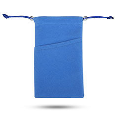 Funda Suave Terciopelo Tela Bolsa de Cordon Universal para Sony Xperia XZ2 Compact Azul